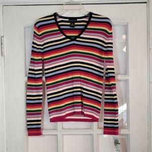 Colorful striped v neck sweater